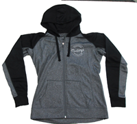 Womens Contrast Poly Fleece Full Zip Hoodie